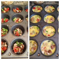 Tin Baked Eggs Recipe: GREAT breakfast for the on-the-go person. Easy Breakfast--Bake scrambled eggs at 350 for 20 min. egg and veggies in a sprayed muffin pan)Easy Breakfast--Bake scrambled eggs at 350 for 20 min. egg and veggies in a sprayed muffin pan) Breakfast Bake, Breakfast Recipes, Breakfast Ideas, Breakfast Muffins, Breakfast Omelette, Camping Breakfast, Meal Prep For Breakfast, Blueberry Breakfast, Breakfast Healthy