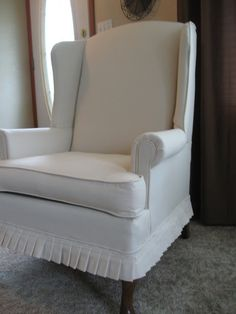 Thrifty Parsonage Living: Reupholstered Wingback Chair Revealed