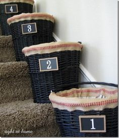 Baskets On Stairs  I Need These.