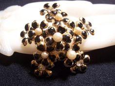 Vintage Coro Enamel Faux Pearl Rhinestone Flower Brooch Pin via Etsy