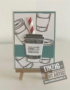 Kaffeekunst  Es gab schon mal ein einem Katalog in einem Land vor unserer Zeit einen Stempel mit Kaffeemotiven. Sowohl in dem neuen Hauptkatalog als auch in dem neuen Weihnachtskatalog in den ich als DvD (Demo vom Dienst) schon kucken durfte sind schöne Kaffeemotive. Und 3 mal schöne Motive machen eine schöne Karte   Und eine schöne Materialliste   Freunde Kaffee