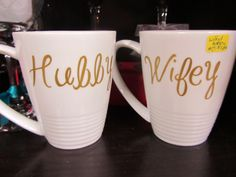 These mugs are perfect for a wedding gift or shower gift! Available in different colors and styles! #hubby #wifey #wedding #bridalshower #giftidea