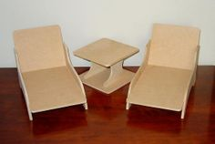 "18 Doll  Lounge Chair and Table Set 3 by DollClothesFurniture, $24.95. Two lounge chairs (approximately 12"" long x 6"" tall) and one table (approximately 6"" square by 4"" tall) were created FROM MDF"