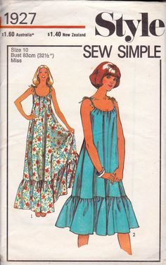 Style 1927 vintage sewing pattern ©1977 Misses Dress in Two Lengths: Sleeveless, flared, bias cut dress has deep self frill around lower edge. The cord draw strings inserted through upper edge are tied at the shoulders and trimmed with beads. Size 10: Bust 32 1/2 inches / 83 cm Waist 25 inches / 64 cm Hip 34 1/2 inches / 88 cm Pattern is cut and complete. Dress front/back has been cut to shorter length, extension piece for maxi length is included. Pattern envelope is in good vintage cond...