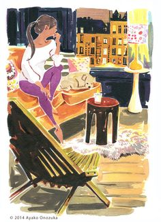 ayako onozuka #illustration #Interior #Watercolor #イラストレーション