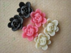 6PCS  Mini Lotus Flower Cabochons  Resin  9mm  Brown by ZARDENIA, $1.80