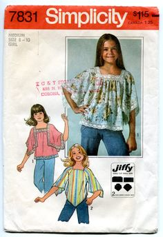 MOMSPatterns Vintage Sewing Patterns - Simplicity 7831 Vintage Sewing Pattern GROOVY Easy Jiffy Girls Square Handkerchief Angel Sleeve Boho Bohemian Smock Top, Blouse Set Size M Simplicity Sewing Patterns, Vintage Sewing Patterns, Sewing Paterns, Style Patterns, Clothes Patterns, Dress Patterns, 70s Fashion, Vintage Fashion, Seventies Fashion