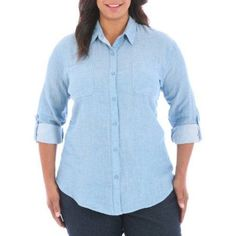 Riders Womens Plus Size Blakely Roll Tab Woven, Women's, Size: 4XL, Blue
