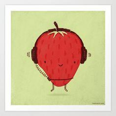 Strawberry+Jammin'+Art+Print+by+Sunshine+And+Sage+-+$19.00