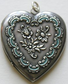 Victorian Enameled Large Sterling Heart Locket
