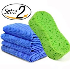 PNBB Multipurpose 25 X 17 Chamois Cloth Drying Towel with Car Wash SpongeScratch and Lint FreeSuper Absorbent Car Wash Set Protective Case Included Random ColorSet of 2 * To view further for this item, visit the image link.(This is an Amazon affiliate link and I receive a commission for the sales)