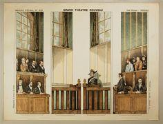 Imagerie d'Épinal, No. 1663. Grand Théâtre Nouveau. Cour d`Assises - Coulisses.