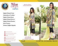 D-09 - SAFWA DIGITAL - MILAN COLLECTION - EMBROIDERED - 3 PIECE SUIT - LAWN  #safwapk #safwa #shalwarkameez #clothing #dresses #ladiesclothing #womenclothing #digital #onlineshopping #shoponline