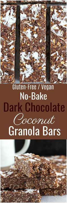 Dark Chocolate Coconut Granola Bars - Full of healthy and wholesome ingredients, these Dark Chocolate Coconut Granola Bars are gluten-free, dairy-free, refined sugar free and vegan! Vegan Sweets, Healthy Dessert Recipes, Vegan Snacks, Vegan Desserts, Snack Recipes, Healthy Snacks, Gf Recipes, Mexican Recipes, Chocolate Desserts