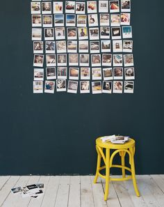Holiday at Home by Mr Jason Grant: Home decorating with polaroids, via WeeBirdy.com. #polaroids #yellow #wall @wallart