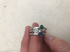In Faux Emerald, natural Aquamarine, and lab created Sapphire Birthstone Stacking Rings, Sterling Silver Jewelry, Silver Rings, Birthstones, Emerald, Lab, Sapphire, Gemstone Rings, Gemstones