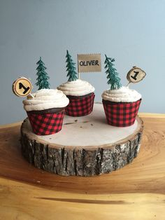 lumberjack party cupcakes with evergreen cupcake toppers and a wood slice cake stand Baby Birthday, First Birthday Parties, First Birthdays, Birthday Ideas, Boy Birthday Cupcakes, Camp Cupcakes, Libra Birthday, Vegan Cupcakes, Wedding Cupcakes
