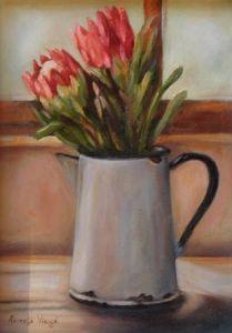 """Enamel Jug with Pink Proteas"""