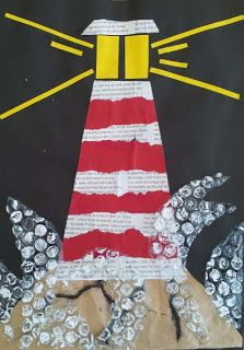 Lighthouse Collage with bubble wrap used to stamp waves tie to: collage or focus Spring Art, Summer Art, Art For Kids, Crafts For Kids, Arts And Crafts, Art Plastic, Lighthouse Art, 3rd Grade Art, Ocean Crafts