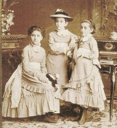 Princesses Zorka, Milica and Anastasia of Montenegro. In time Militsa and Anastasia would become Grand Duchesses of Russia.