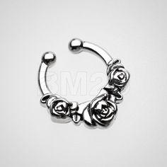 Rose Garden Icon Fake Septum Clip-On Ring