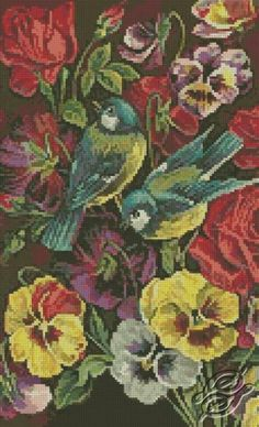 Flowers And Birds - Free Cross Stitch Pattern