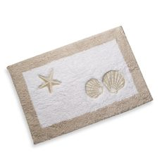 """Sand and Sea Bath Rug - $24.99 ea. Evoking memories from days by the sea, this bath rug will be a refreshing addition to your bathroom decor. Complete the relaxing and welcoming look of this bath rug by coordinating with the Sand and Sea bath ensemble and bath towels. 100% cotton. Measures 21"""" x 33"""". Machine wash. Imported."""