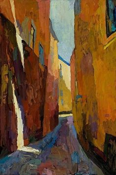 Larisa Aukon, Narrow Street by Larisa Aukon Oil ~ 36 x 24