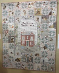 The tale of two bad mice quilt by Yoko Saito Yoko Saito, Tokyo Dome, Beatrice Potter, Japanese Quilts, Peter Rabbit, Applique Quilts, Vintage Quilts, Needlework, Vintage World Maps