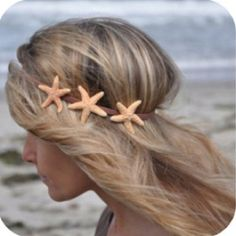 Starfish Hairband (for mermaid halloween costume? Pretty Hairstyles, Wedding Hairstyles, Mermaid Hairstyles, Beach Hairstyles, Style Hairstyle, Men's Hairstyle, Formal Hairstyles, Ponytail Hairstyles, Hairstyles Haircuts
