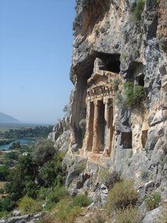Ancient Lycian rock-cut tomb at ancient Caunos, near Dalyan, Turkey