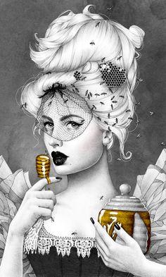 """Queen Bee"" Ballpoint Pen Drawing by Morgan Davidson, via Behance"