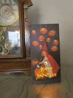 witch halloween decorationfun light box victorian post card vintage looking ebay - Victorian Halloween Decorations