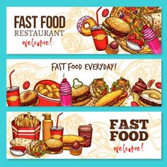 Fast food restaurant banners. Hamburger, hot dog and pizza, french fries, coffee and soda drinks, donut, cheeseburger and egg sand
