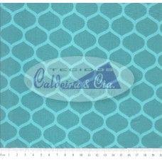 Tecido Tricoline Estampado Colmeia Angelica  cor - 01 ( Verde Tiffany )