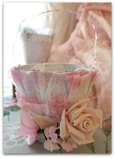Glittered peat pot with pink rose