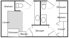 Image Of A Floor Plan For His And Hers Master Bathroom With Walk