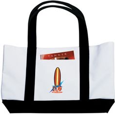 "Take everything you need on the go with The Large Boat tote bag! This tote is made of 600 denier polycanvas for extra durability and features a large open main compartment with double 23"" handles for comfortable and easy carrying. This bag has a front open pocket and can be filled with all kinds of goodies at your next special event! This bag comes in white with a variety of accent colors and handles. Please note the notebook not included."