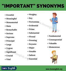 Important Synonyms English Language Learning, Keynote, Sentences, Coding, Education, Love, Frases, Amor, El Amor