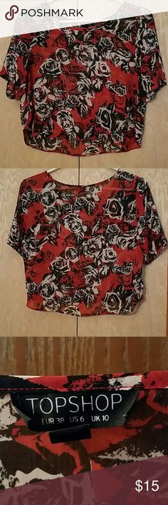 Black & Red Rose Print Crop Top Sheer, flowy crop top.  Great condition. 100% polyester. Topshop Tops Crop Tops