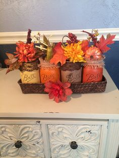 Shabby Chic Fall Mason Jar Centerpiece Collection Pint Size Jars
