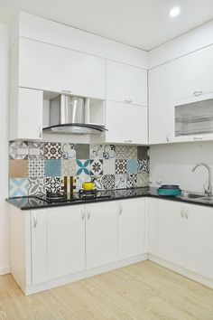 Home Design: Small Kitchen Design Featuring Beautiful Patterned Ceramic Tiles Backsplash: Vietnam Apartment Featuring Artistic Interior