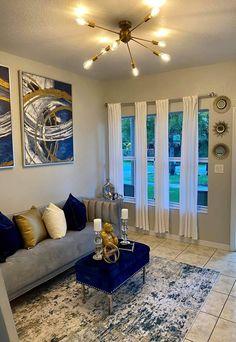 Blue Living Room Decor, Glam Living Room, Cozy Living Rooms, Living Room Designs, Girl Apartment Decor, First Apartment Decorating, Apartment Living, Apartment Ideas, Dream Home Design