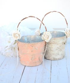 Set of 2 Flower girl basket - boho chic / rustic wedding by BellaBrideCreations on Etsy https://www.etsy.com/listing/176058464/set-of-2-flower-girl-basket-boho-chic