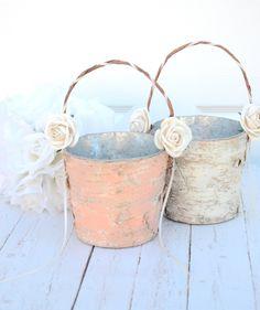 Set of 2 Flower girl basket - boho chic / rustic wedding by BellaBrideCreations on Etsy https://www.etsy.com/listing/176058464/set-of-2-flower-girl-basket-boho-chic