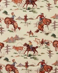 Vintage Cowboys Indians Horses Western Fabric Cotton