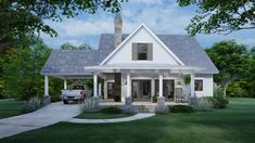 This cottage design floor plan is 1302 sq ft and has 3 bedrooms and has 2 bathrooms.