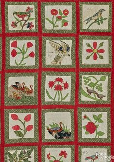 Antique Homespun Red With Center Medallion With Birds Very Old And Nice Exquisite Craftsmanship; Antiques