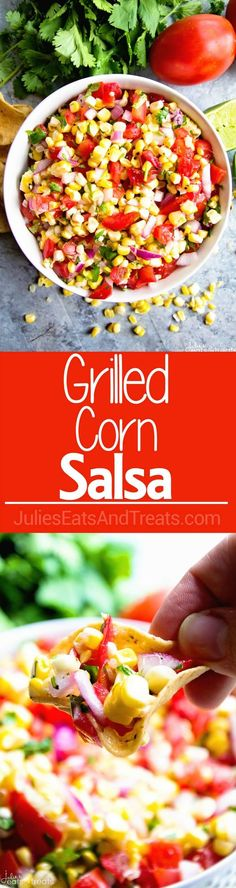 Grilled Corn Salsa ~ fresh, healthy and delicious salsa made with grilled corn!