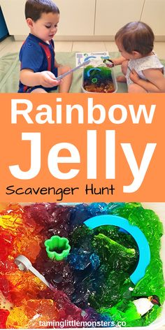 Learn through play with this fun and easy rainbow jelly sensory bin for kids. With a few extra steps you can even turn it into an indoor scavenger hunt. Sensory Activities For Preschoolers, Rainbow Activities, Toddler Activities, Preschool Activities, Sensory Bins, Sensory Play, Rainbow Jelly, Scavenger Hunt For Kids, Teaching Colors